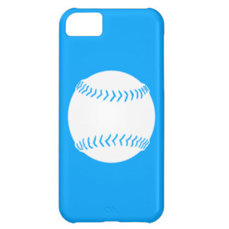 iPhone 5 Softball Silhouette White on Blue Case For iPhone 5C