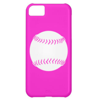 iPhone 5 Softball Silhouette White on Pink iPhone 5C Cover