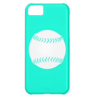 iPhone 5 Softball Silhouette White on Turquoise iPhone 5C Cover