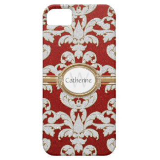 Iphone 5 Sparkle Floral Leaf Damask Personalized iPhone SE/5/5s Case