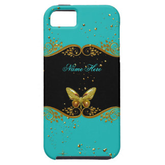 iPhone 5 Teal Blue Gold Black White Butterfly iPhone SE/5/5s Case