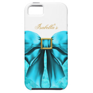 iPhone 5 Teal Blue Gold White Bow Image iPhone SE/5/5s Case
