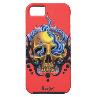 Iphone 5 tough - Old Skool Tattoo Skull with Flame iPhone 5 Covers