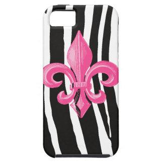 iPhone 5 Tough - Zebra w/ Hot Pink Fleur de Lis iPhone SE/5/5s Case