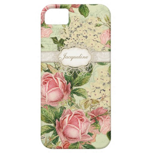 IPhone 5 - Vintage English Rose Lace n Hydrangea iPhone 5 Cases