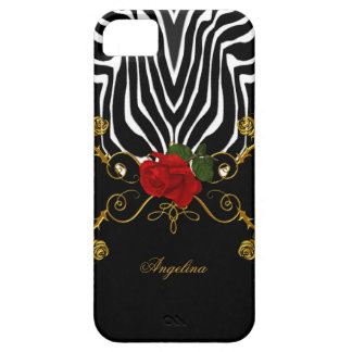 iPhone 5 Zebra Abstract Roses Red Black White Gold iPhone SE/5/5s Case