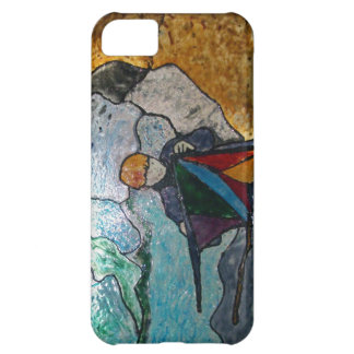 iphone 5C case with stained glass look kite boy