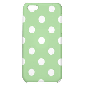 iPhone 5c Savvy Case: White on Green Polka Dots iPhone 5C Cases