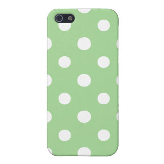 iPhone 5c Savvy Case: White on Green Polka Dots iPhone SE/5/5s Cover