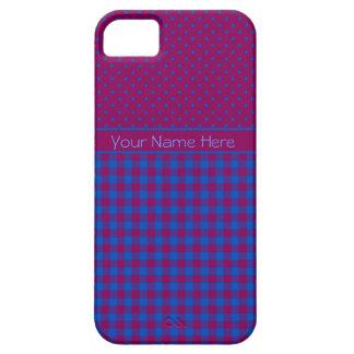 iPhone 5s Case-Mate Case Plum, Blue, Polkas, Check