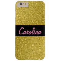 iPhone 6 / 6s Plus Case, Gold Glitter Customized Barely There iPhone 6 Plus Case