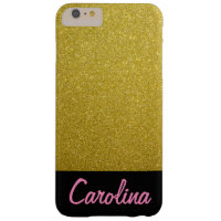 iPhone 6 / 6s Plus Case, Gold Glitter Personalized Barely There iPhone 6 Plus Case