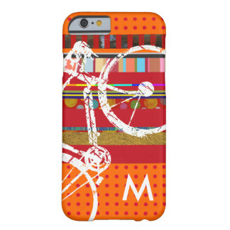 iPhone 6 bicycle, stripes and custom initial Barely There iPhone 6 Case