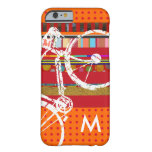 iPhone 6 bike, stripes and custom initial Barely There iPhone 6 Case