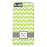 iPhone 6 case Custom Monogram Grey Lime Chevron iPhone 6 Case