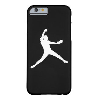 iPhone 6 case Fastpitch Silhouette White on Black