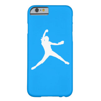 iPhone 6 case Fastpitch Silhouette White on Blue