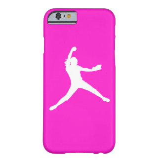 iPhone 6 case Fastpitch Silhouette White on Pink