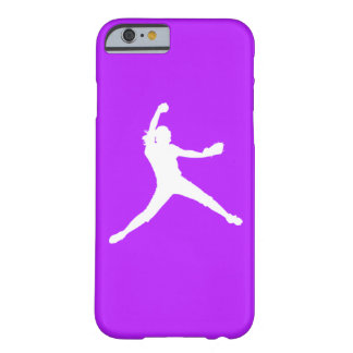 iPhone 6 case Fastpitch Silhouette White on Purple