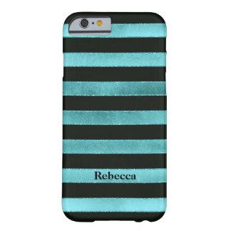 iPhone 6 Case | FAUX Aqua Foil | Black Stripes