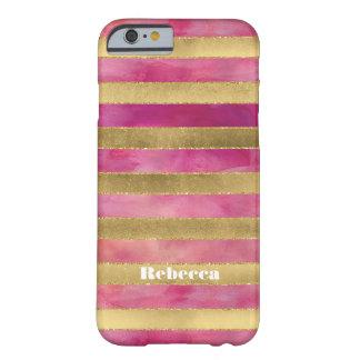 iPhone 6 Case | FAUX Gold Foil Stripes Watercolors
