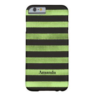 iPhone 6 Case | FAUX Lime Foil | Black Stripes