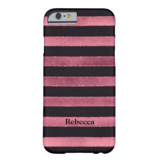 iPhone 6 Case | FAUX Pink Foil | Black Stripes