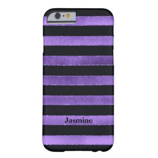 iPhone 6 Case | FAUX Purple Foil | Black Stripes