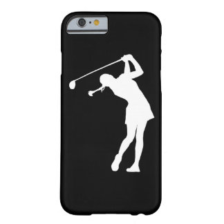 iPhone 6 case Lady Golfer Silhouette White on Blac