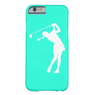 iPhone 6 case Lady Golfer Silhouette White on Turq