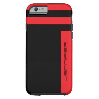 iPhone 6 Case Red Black Two Way Stripe