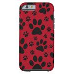 iPhone 6 case, Red, pet animal paw prints, dog cat