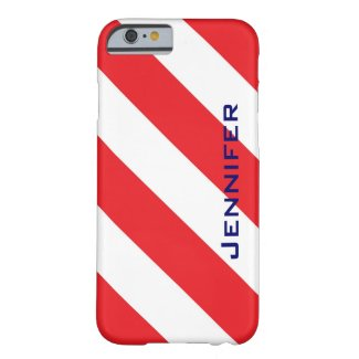 iPhone 6 Case, Red & White Stripe, Personalized