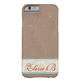 iPhone 6 Case Tan Blue Monogram Elegant