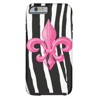 iPhone 6 case Tough - Zebra w/ Hot Pink Fleur de L