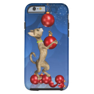 iPhone 6 case with fun holiday cat swinging