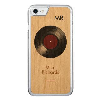 iPhone 6 con el disco de vinilo en la madera Funda Para iPhone 7