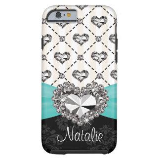 iPhone 6 del corazón del diamante artificial de la