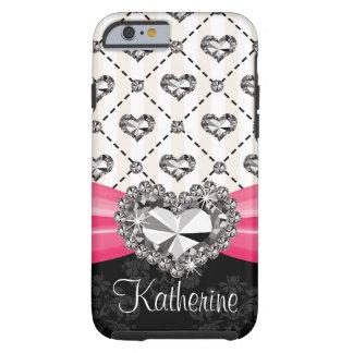 iPhone 6 del corazón del diamante de las rosas