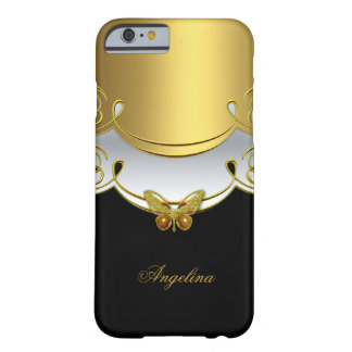 iPhone 6 Elegant Classy Gold Black White Butterfly Barely There iPhone 6 Case