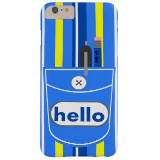 iPhone 6 Plus case blue stripe pocket hello