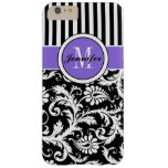 iPhone 6 Plus Case | Damask | Stripes | Purple 2