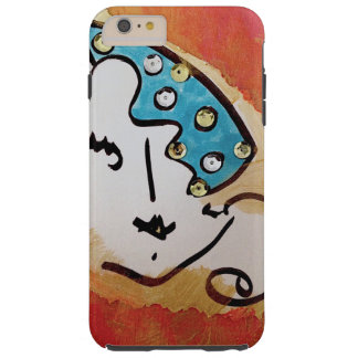 iPhone 6s womans face orange gold turq & Bk. art Tough iPhone 6 Plus Case