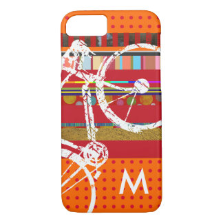 iPhone 7 bicycle, stripes and custom initial iPhone 7 Case