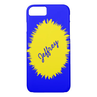 iPhone 7 Case, Blue and Yellow, Personalized iPhone 7 Case