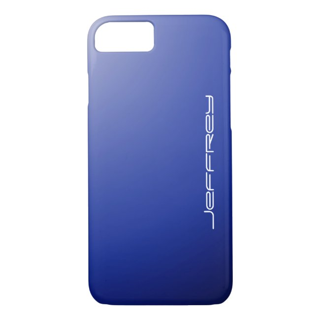 iPhone 7 Case, Blue Gradient & White, Personalized