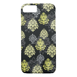 iPhone 7 case-Citron and Black Damask iPhone 8/7 Case