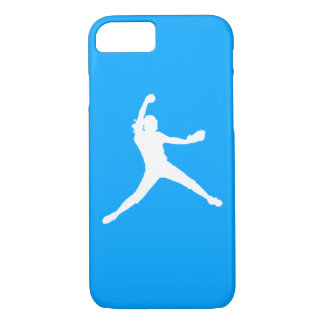 iPhone 7 case Fastpitch Silhouette White on Blue