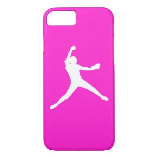 iPhone 7 case Fastpitch Silhouette White on Pink