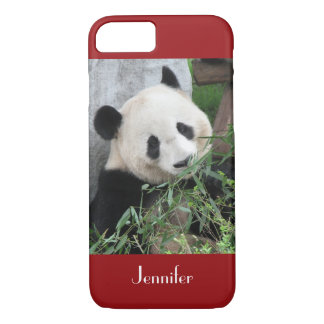 iPhone 7 Case Giant Panda Dark Red Background